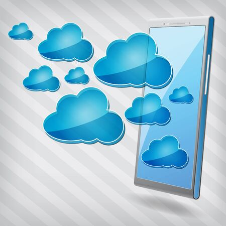 mobile phone with blue cloud computing icons on a stripped background Stock Vector - 15476437