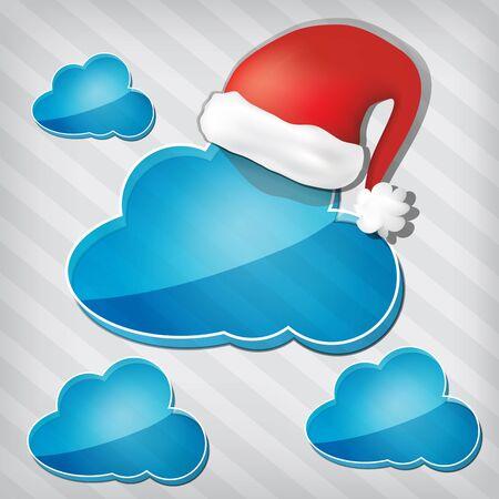 strippad: öppenhet blå moln med jultomten hatt på en strippad bakgrund Illustration