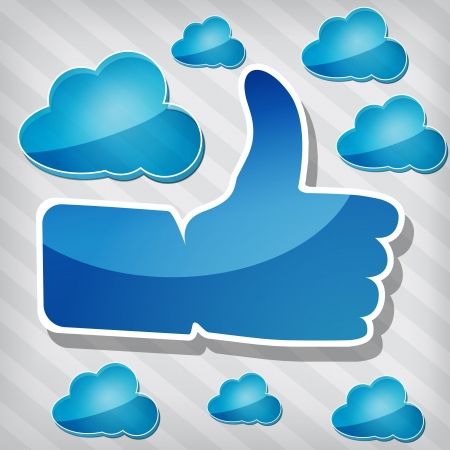 Like symbol with blue clouds on a stripped background  Vector
