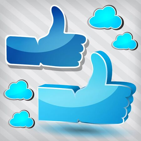 'Like' symbols with blue clouds on a stripped background  Vector