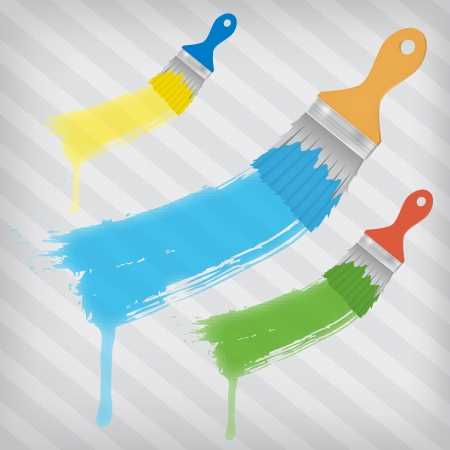 strippad: flat brushes with paints splashes over a stripped background