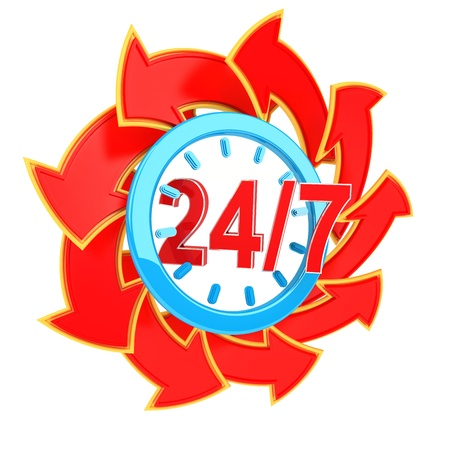 twenty four hour seven days a week service sign with red arrows photo