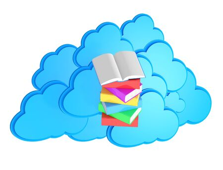 elearn: Stack of multicolored books with open book before blue cloud computing icon  e-lerning concept Stock Photo