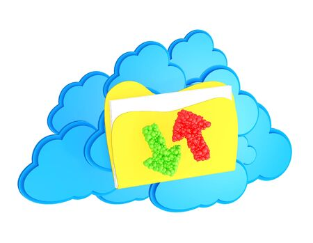 cloud computing icon with folder and upload and download arrows on a white background  Stock Photo - 15476341