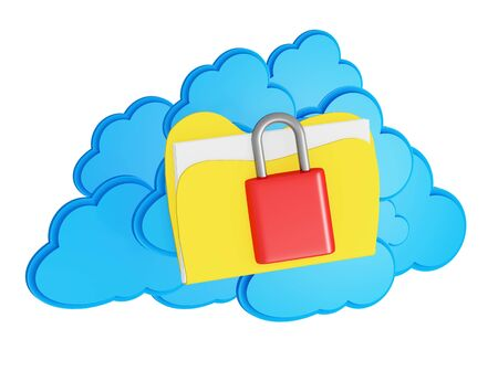 3d cloud computing security concept on a white background photo