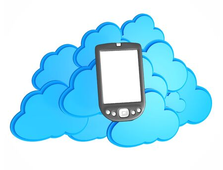 3d mobile phone with cloud computing icon on a white background Stock Photo - 15476336