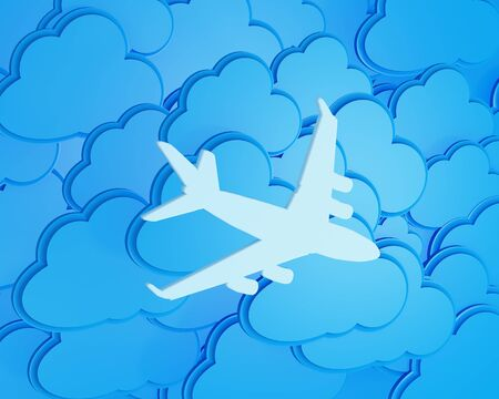 jetplane: 3d clouds with silhouette of jet airliner icon