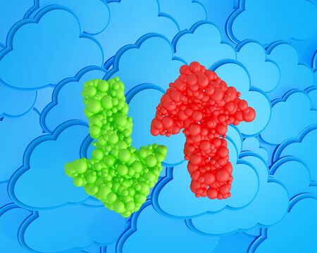 upload and download arrows  made from spheres on cloud computing icon background photo