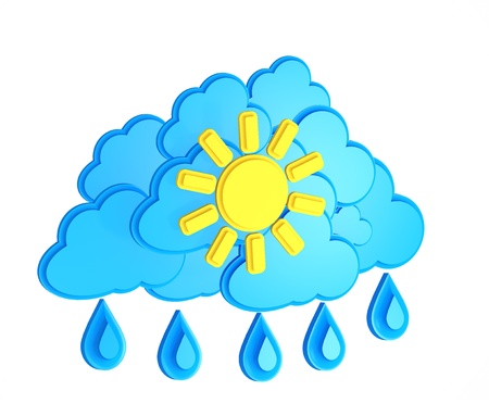 meteorologist: Sun, cloud and rain - weather forecast symbol on a white background
