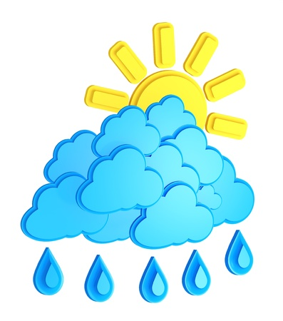 Sun, Clouds And Rain Drops Isolated On White Background  weather forecast Stock Photo