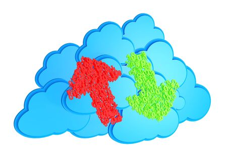 Upload and download arrows made from numbers before blue cloud computing icon on white background photo