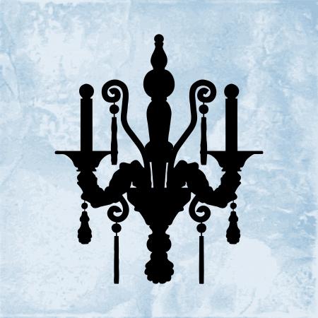 irradiate: Silueta de la l�mpara de pared de lujo en un fondo azul cer�mica