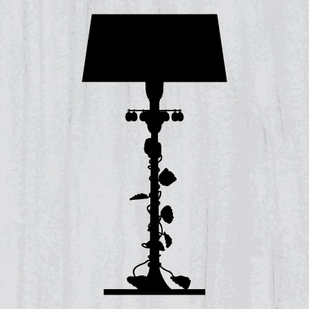 peachy: silhouette of luxury lamp on a scratched grey wallpaper template design of invitation with chandelier