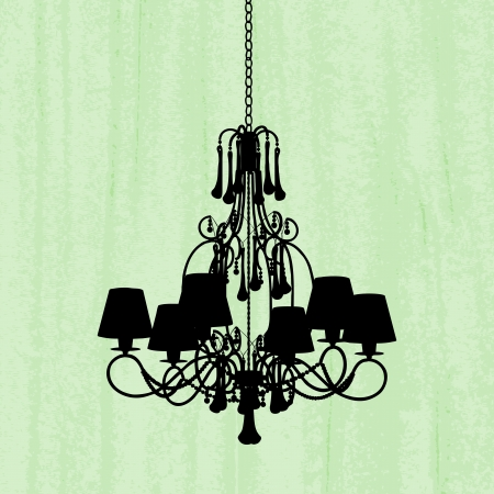 silhouette of luxury chandelier on a scratched green wallpaper/ template design of invitation with chandelier Stock Vector - 16132857