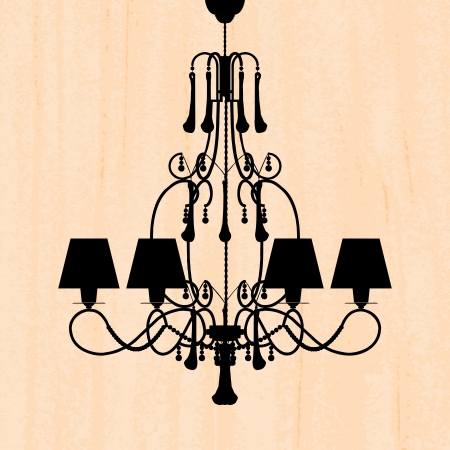 silhouette of luxury chandelier on a scratched peachy wallpaper/ template design of invitation with chandelier  Vector