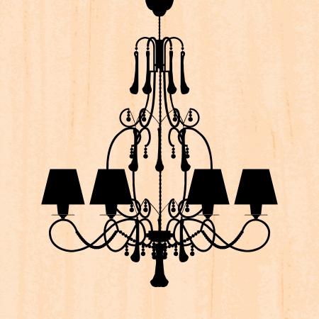 irradiate: silueta de la l�mpara de lujo en un papel pintado rayado peachy  plantilla de dise�o de la invitaci�n con la l�mpara Vectores