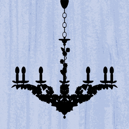 peachy: silhouette of luxury chandelier on a scratched blue wallpaper template design of invitation with chandelier  Illustration