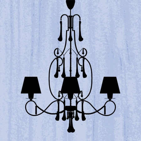 tungsten: silhouette of luxury chandelier on a scratched blue wallpaper template design of invitation with chandelier