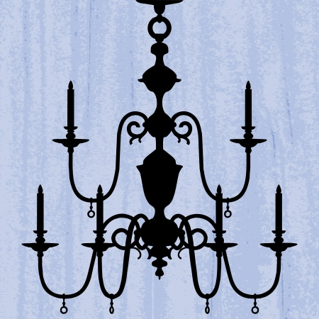 irradiate: silhouette of luxury chandelier on a scratched blue wallpaper template design of invitation with chandelier  Illustration