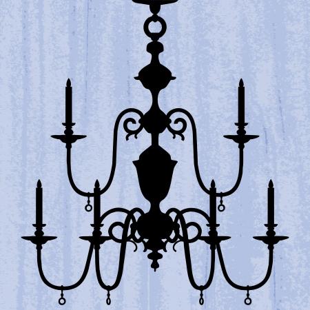 irradiate: silueta de la l�mpara de lujo en un fondo de pantalla azul rayado  plantilla de dise�o de la invitaci�n con la l�mpara Vectores