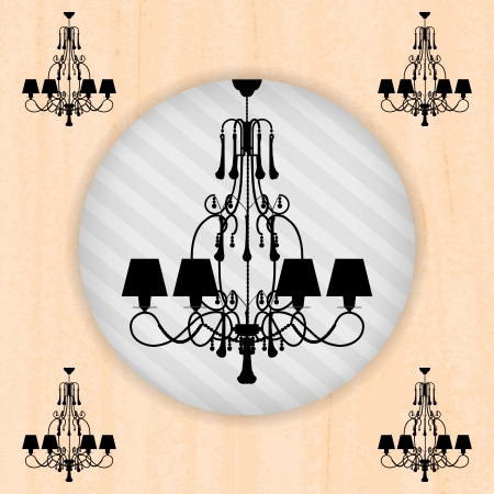 silhouette of luxury chandelier on a scratched peachy wallpaper/ template design of invitation with chandelier Stock Vector - 16132884