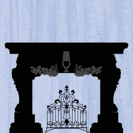 smithery: silhouette of fireplace with forged product on a scratched blue wallpaper template design of invitation with fireplace Illustration