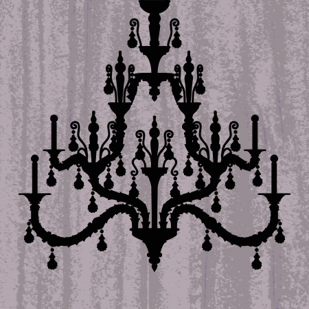 irradiate: silhouette of luxury chandelier on a scratched purple wallpaper template design of invitation with chandelier