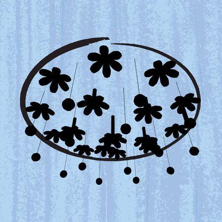 pale ocher: Modern chandelier on a blue scratched wallpaper  template of invitation