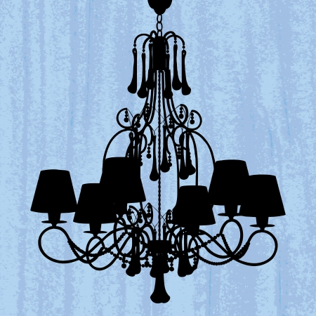 irradiate: silhouette of luxury chandelier on a scratched green wallpaper template design of invitation with chandelier