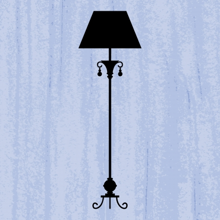 tarnish: silhouette of luxury standard lamp on a scratched blue wallpaper template design of invitation with lamp