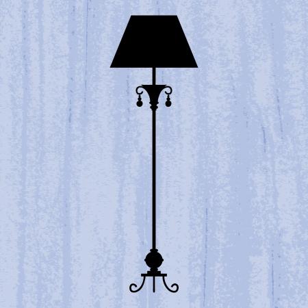 irradiate: silueta de la l�mpara de lujo est�ndar en un papel pintado rayado azul  plantilla de dise�o de la invitaci�n con la l�mpara Vectores