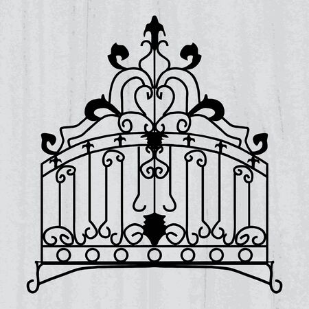 iron fence: Vector ornament for the forged product on a scratched grey wallpaper background