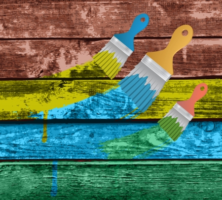 flat brushes with paints splashes on a Colourful Vector Wooden Planks Vector