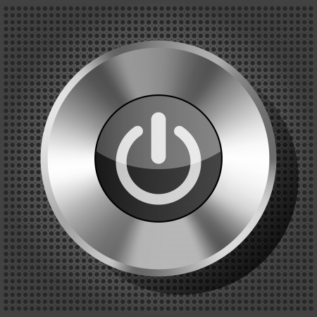 power button icon on the metallic background Vector