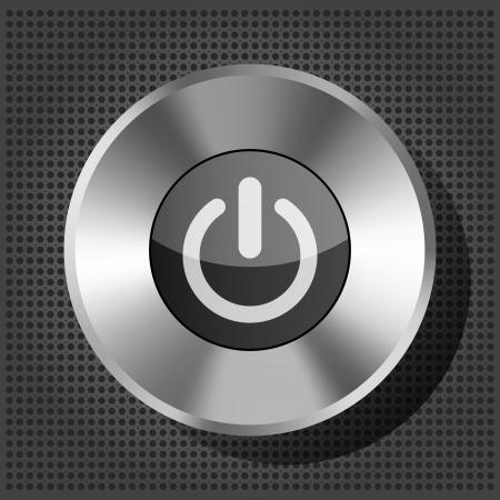 power button: power button icon on the metallic background