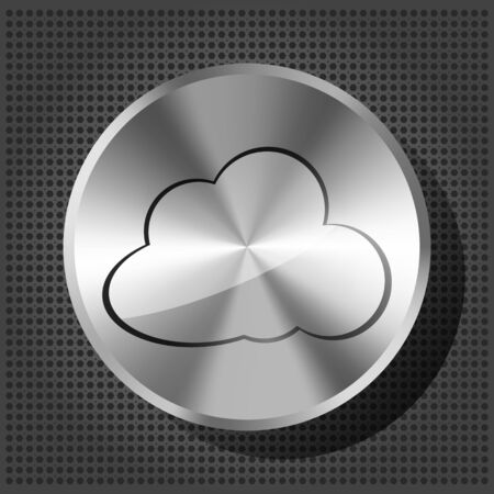 icloud: chrome volume knob with cloud icon on the metallic background