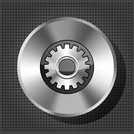 metallic icon with gear on knob on striped background Vector