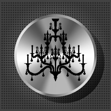 Chrome volume knob with silhouette of luxury chandelier on the metallic background  Vector
