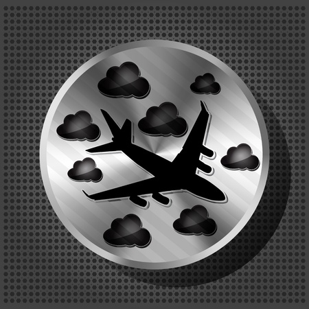 Chrome volume knob with airplane and clouds on the metallic background Vector