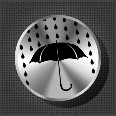 umbrella and rain drops with chrome volume knob on the metallic background  Vector