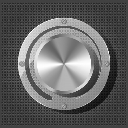 Chrome volume knob with transparency plate on the metallic background Stock Vector - 16132837