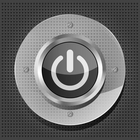 power button icon on the metallic background Stock Vector - 16132829