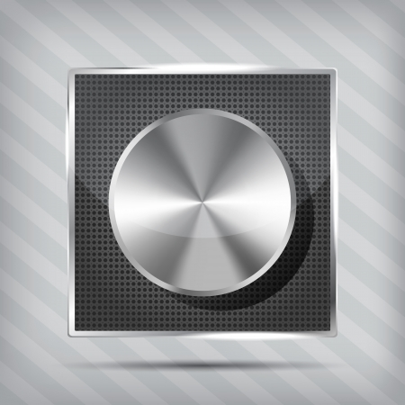 metallic icon with chrome volume knob on the striped background Stock Vector - 16132803