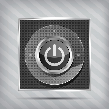 power button: power button icon on the striped background Illustration