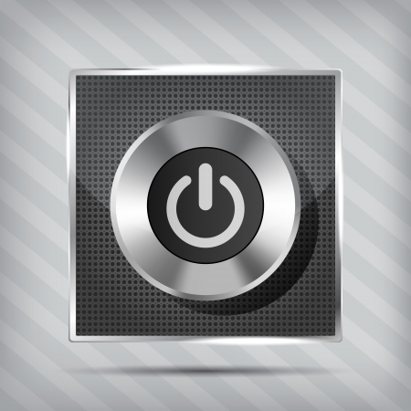 metallic power button icon on the striped background Vector