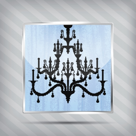 scratched blue icon with silhouette of chandelier on the striped background Vector