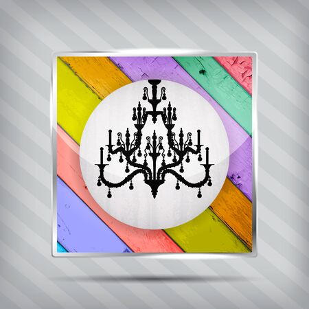 colorful wooden pattern icon with silhouette of chandelier on the striped background Vector