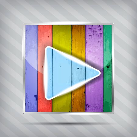 colorful wooden play icon on the striped background Vector