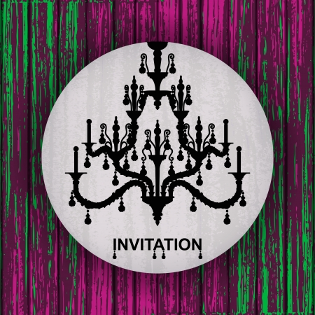silhouette of luxury chandelier on a Colorful Vector Wooden Planks Background  template design of invitation with chandelier  Vector