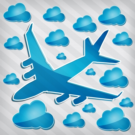 strippad: transparency Four-engine jet airliner in the air with blue cloud computing icons on a stripped background